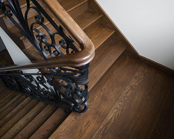 dark timber stairs