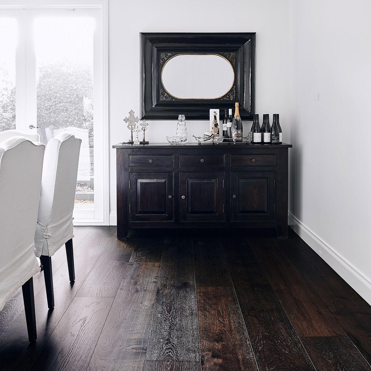 dark black timber flooring
