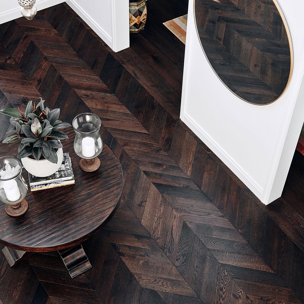 Black timber floors