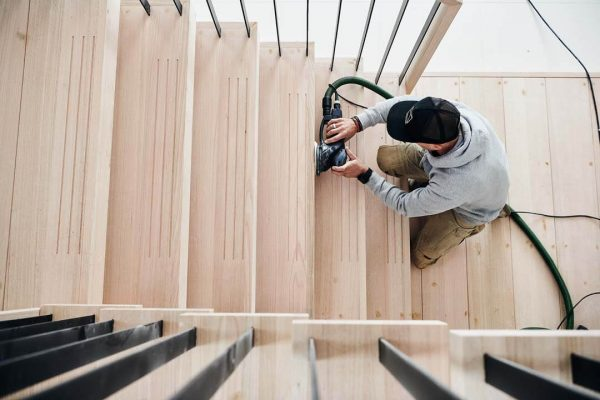 timber stair sanding